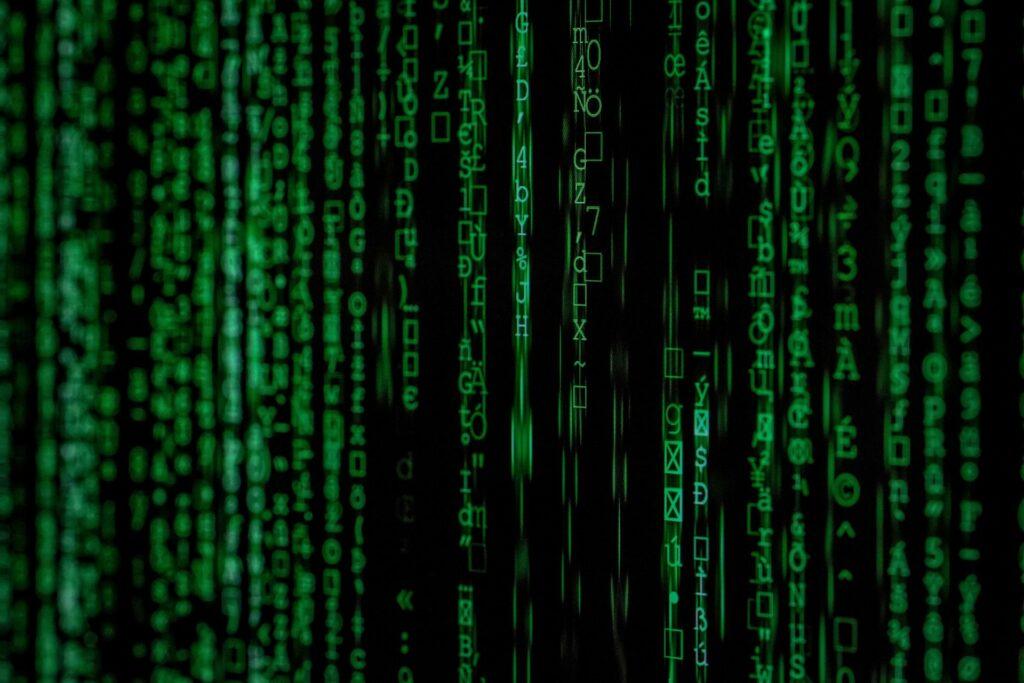 Green lines of computer code