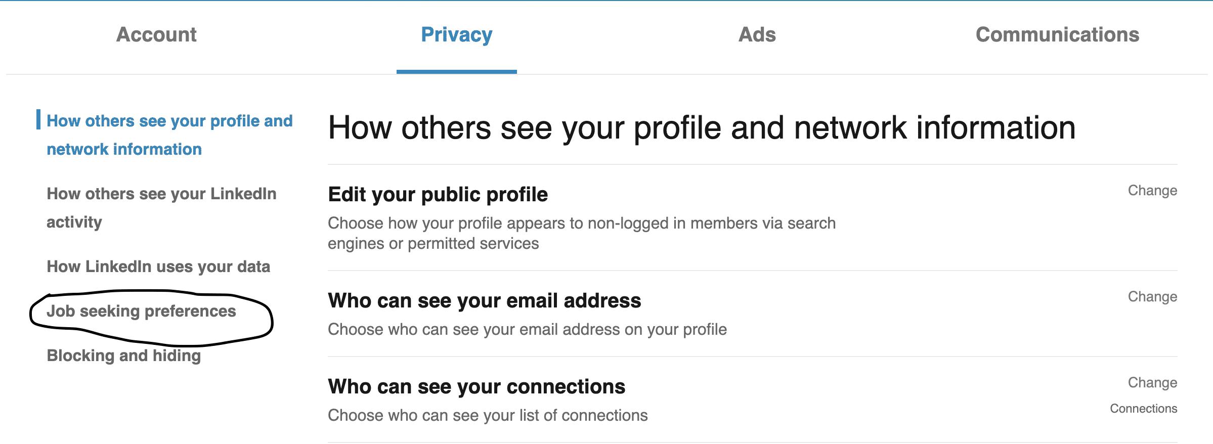 Job seeking preferences LinkedIn Resume upload