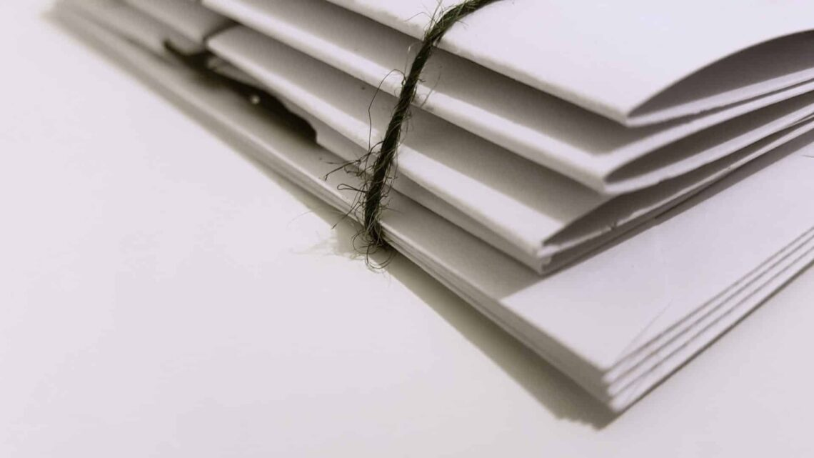 Close up of folders wrapped together